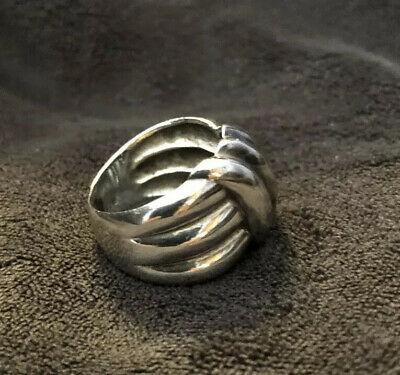 sterling silver ring size 8, Chunky Bulky Style Ring Ribbed