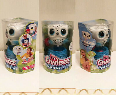 Owleez - Flying Baby Owl Interactive Toy - Lights and Sounds Blue/White On Hand