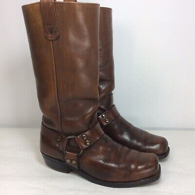 Double H Mens Size 8 Brown Leather Riding Harness Boots Western Cowboy Boots USA