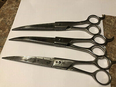 Set Of 3 Vintage Grooming Pet Shears From Korea 9 Inch Curves