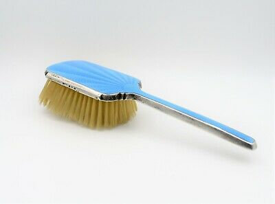 David Moss Antique Sterling Guilloche Enamel Vanity Hair Brush Blue