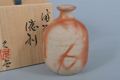 K3848: Japanese Bizen-ware Youhen pattern SAKE BOTTLE Tokkuri, auto w/signed box