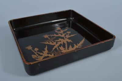 K3946: Japanese Flower gold lacquer pattern OLD WOODEN TRAY/plate Senchabon