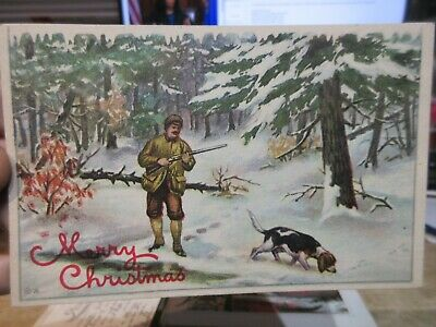 Old Antique Victorian Era Merry Christmas Postcard Hunter Bloodhound Dog Forest