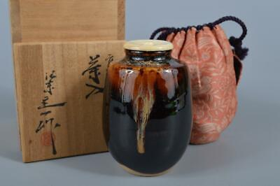 K3080:Japanese Kiyomizu-ware TEA CADDY High class lid, Oketani Teiichi made