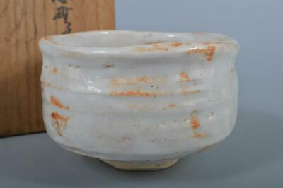 K3452: Japanese Shino-ware White glaze TEA BOWL Tozan made w/signed box