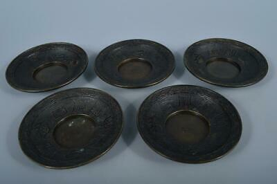 K4133:Japanese Copper Poetry Shippo sculpture TEA CUP TRAY Saucer Chataku 5pcs