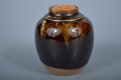 K4228: Japanese Kiyomizu-ware Brown glaze TEA CADDY Chaire, Koya made
