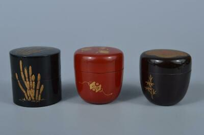 K4315:Japanese Wooden Treasure Pine gold lacquer pattern TEA CADDY Natsume 3pcs