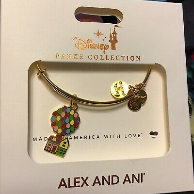 Disney Parks Alex and Ani UP Movie Balloon House Charm Bracelet Gold tone New