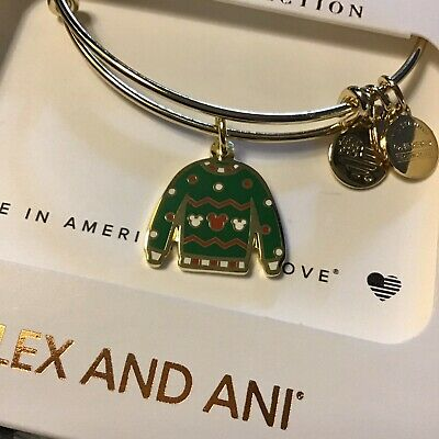 Disney Parks Alex And Ani Mickey Mouse Ugly Christmas Sweater Gold Bracelet NEW