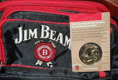 """JIM BEAM Cooler Bag 10""""x 10""""x 6"""" 3 Section New with J.B.Silver Dollar No1 Jacob"""