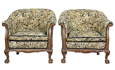 Pair Of Early 20Th Century Carved Walnut Armchairs