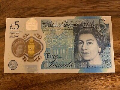 England 5 Pounds Banknote. 5 Pound Banknotes. Circulated Bill. Single Note.