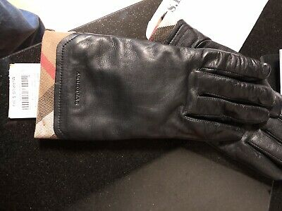 Burberry Womens Leather Check Trim 100% Cashmere Lined Black Touch Gloves