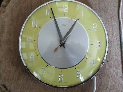 Vintage Retro Rare Metamec 1950s 60s Kitsch Kitchen Yellow  Wall Clock  Working