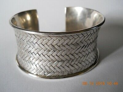 Vintage Toast Wide Woven Silver Bangle