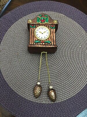 Large Glass - Cuckoo Clock Christmas Ornament W/ Pine Cone Dangles - Poland
