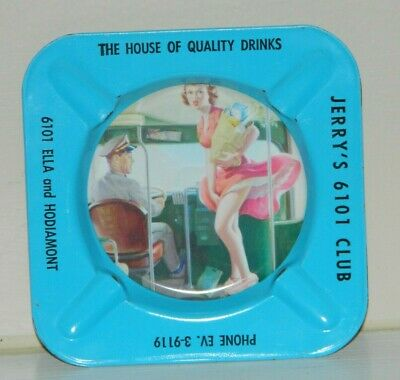 Vintage 1950s Pinup Girl GGA Tin Litho Ashtray 1950s Jerry's 6101 Club