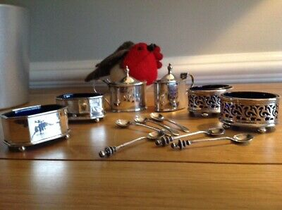 Antique Hallmarked Solid Silver and Blue Glass Salts Condiments Mustard