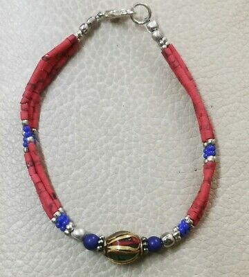 Bracelet Antique Red Silver - Blue&Red Stones 1 Bead Goldplated - Rare Stones