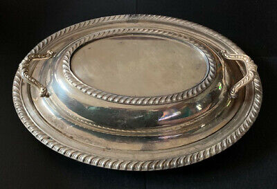 Vintage Wm. Rogers Silver Plate Oval Serving Bowl with matching lid~NICE!