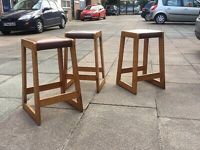 1970s Wooden Stools Original Vinyl Upholstery Set Of 3