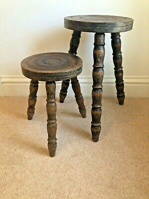 Pair Of Wooden Oak 3 Legged Milking Stools Turned Tops and Legs