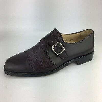 Vito Rufolo Mens Dress Shoes Burgundy All Leather Monk Strap Italy 4390-06 9.5M
