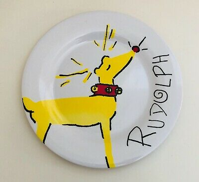 POTTERY BARN KIDS Yellow Rudolph Reindeer 10 1/2 Inch Dinner Plate Pre-Owned NWT