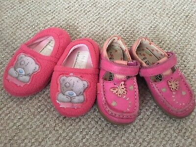 M&S Girls shoe and Tatty Teddy Slippers in Pink size 7 infant