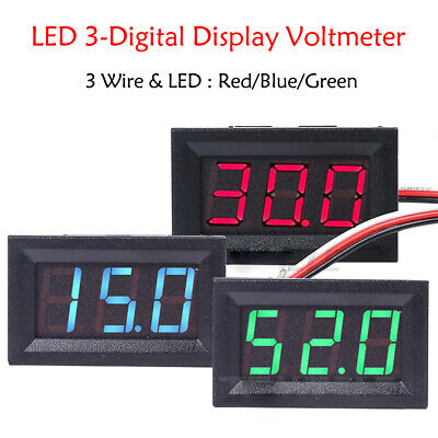 Red/Blue/Green LED 3-Digital Display Volt Voltage Voltmeter Panel Accurate Meter