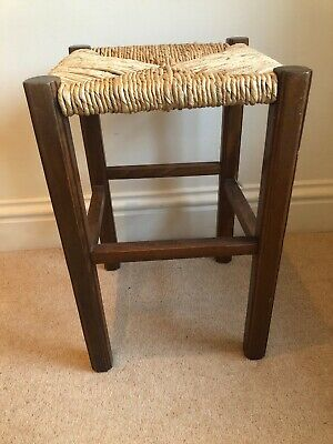 Vintage Rush And Oak Tall Stool 2 Available