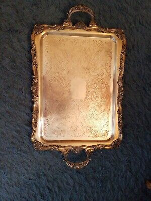 """Vintage Large 29"""" Heavy Silverplate Victorian Ornate Footed Serving Tray/Platter"""