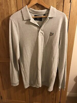 Mens, Grey, Lyle & Scott Long Sleeved Polo Shirt Size L