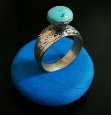 ANCIENT ROMAN SILVER RING - VERY RARE BLUE STONE  20.85mm (inner 18mm)