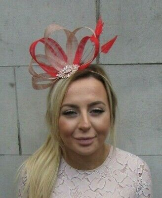 Nude Bright Red Gold Sinamay Feather Hair Fascinator Races Beige Wedding 7894