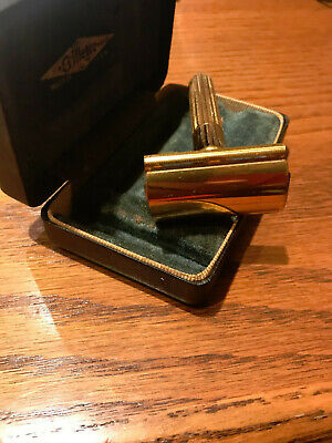 Gillette 1940S Vintage Gold Tech 3 Piece Razor Fat Handle W/Case Excellent!!