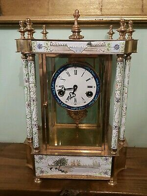 Antique brass mantle clock