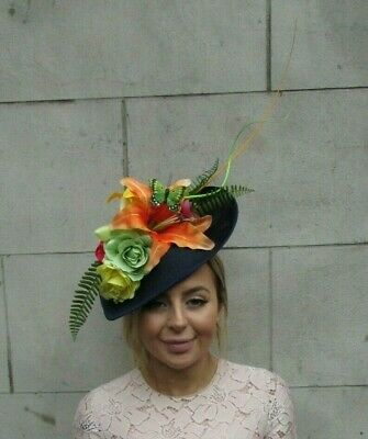 Large Navy Blue Lily Orange Green Yellow Flower Fascinator Hat Races Big 7898