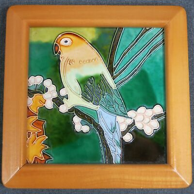 Parakeet Budgie Tile Hand Painted in Wooden Frame Bird Crazing