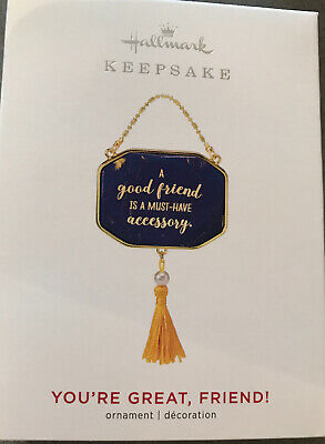 New!!!  Hallmark Keepsake 2019 You're Great, Friend! Metal Ornament Purse Blue