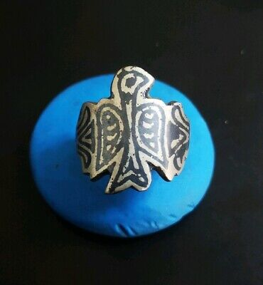 EXEPTIONAL MEDIEVAL SILVER RING FANTASTIC DECORATION 21. 34mm  (inner18. 22mm