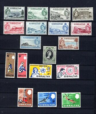 Gibraltar. QEII. 1953-1968. A selection of mostly MLH stamps.