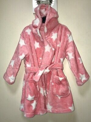 New Soft Fleece Hooded Bath Robe /Dressing Gown By George. Pink /White. 2-3 Yrs.