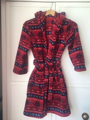 John Lewis Fleece Red And Navy Dressing Gown Age11 Years