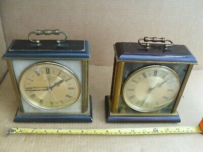 2 Vintage Metamec Mantelpiece Clocks 1 Tickingfine Mantel Marble Brass Wood