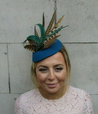 Large Teal Blue Green Peacock Brown Pheasant Feather Hat Fascinator Races 7925