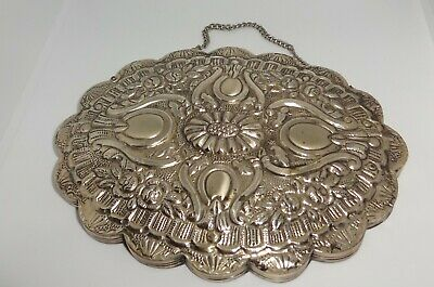 Small Turkish 900 Silver Wall Hanging Mirror Ornately Embossed Pattern