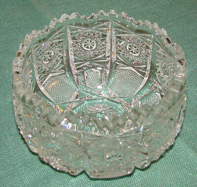 Antique ABP American Brilliant Period Cut Glass Bowl, Starburst, Straight Sided
